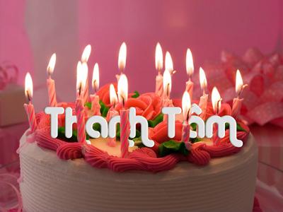 Viết tên  lên Bánh sinh nhật nến lung linh