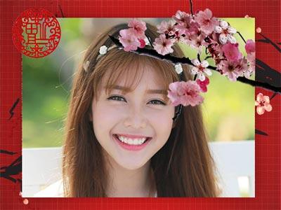 Ghép ảnh hoa đào tết online