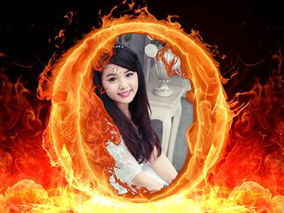 Ghép hình vào khung ảnh lửa online