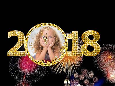 Khung ảnh chúc mừng năm mới 2018 với pháo hoa