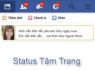 Tạo status facebook  tâm trạng