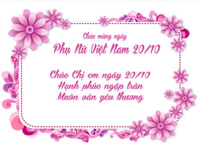 Tạo các thiệp chúc mừng ngày Phụ nữ Việt Nam 20/10