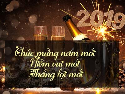 Thiệp chúc mừng năm mới 2019 pháo bông