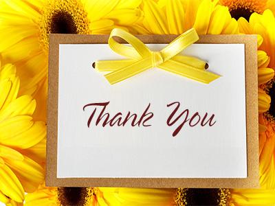 Thiệp cảm ơn mẫu hoa vàng