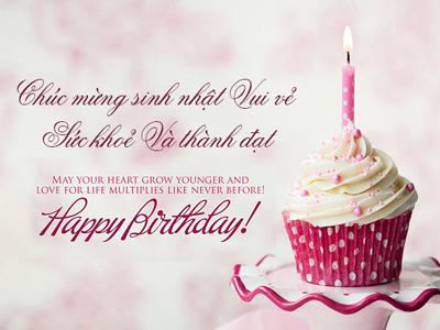 Thiệp chúc mừng sinh nhật màu hồng