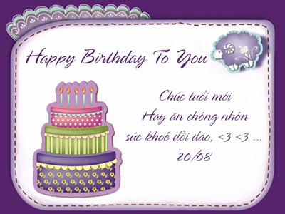 Thiệp sinh nhật màu tím