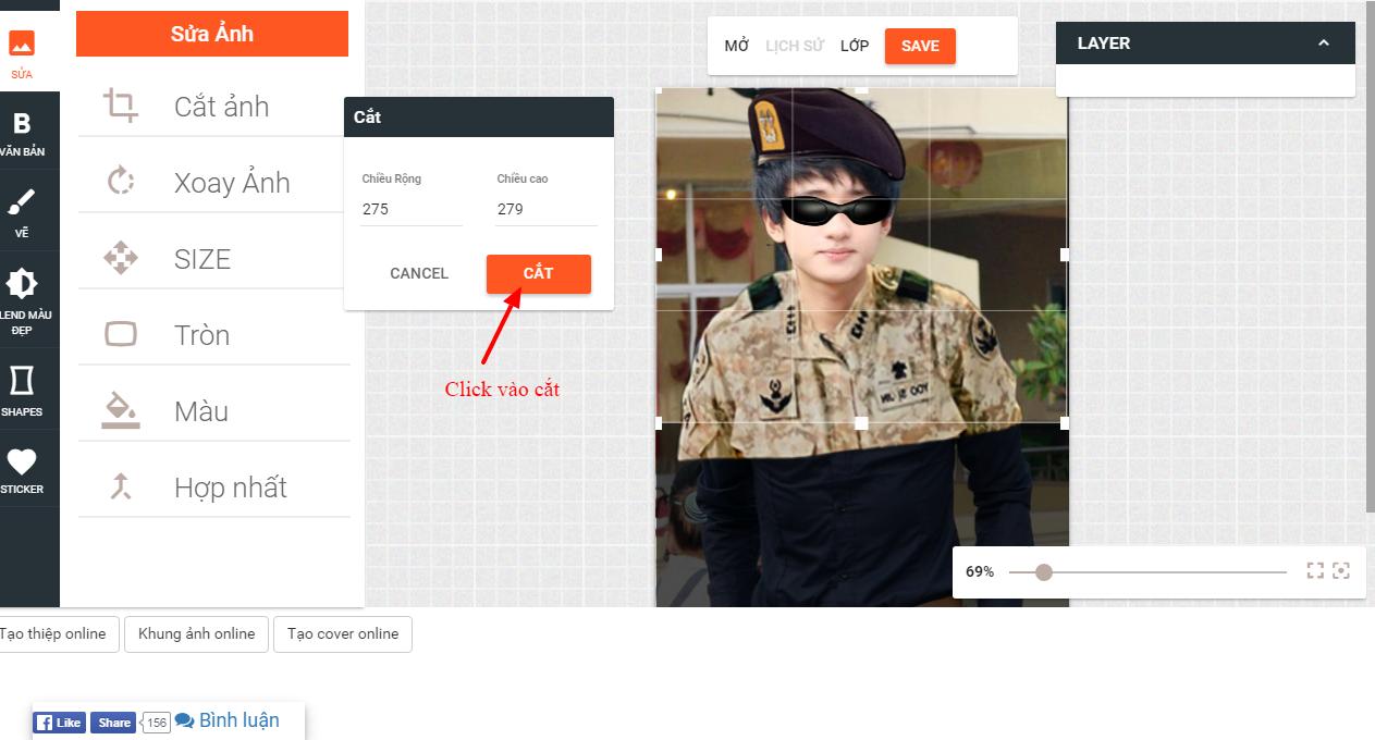 Bước 8 : Sau khi thực hiện xong các bạn sẽ được bức hình giông đại úy Yoo Shi Jin trong phim hậu duệ mặt trời.