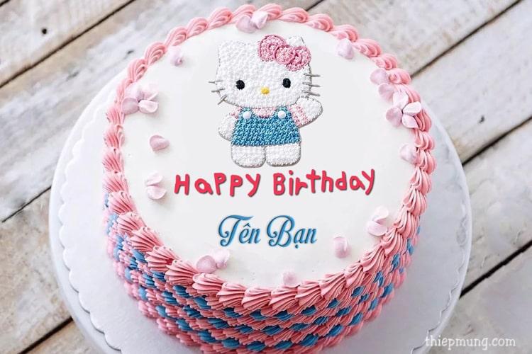 Viết tên lên bánh sinh nhật Hello Kitty cho bé