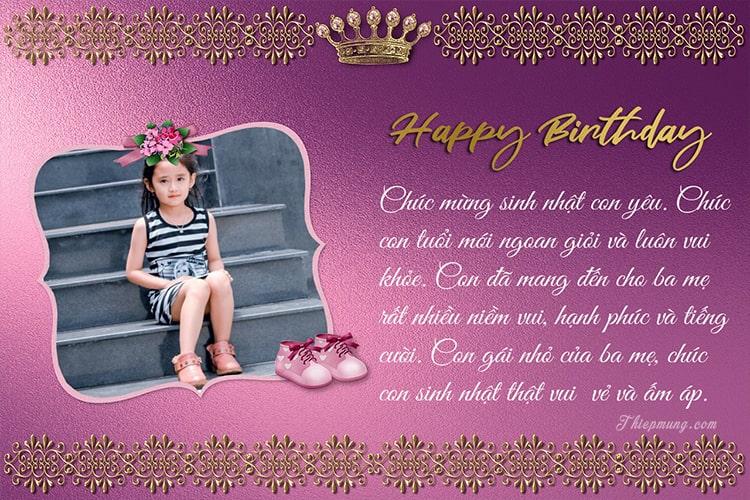 Tạo thiệp, khung ảnh sinh nhật cho bé gái cực dễ thương