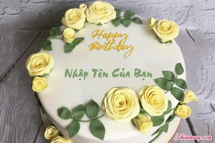 Viết tên lên bánh sinh nhật hoa hồng vàng