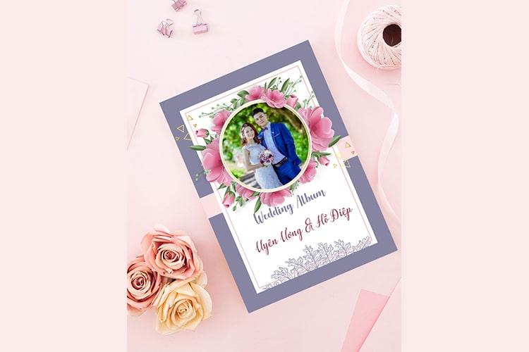 Tạo khung ảnh cưới màu hồng