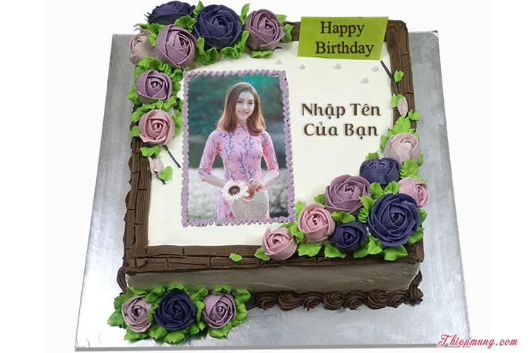 Bánh sinh nhật in ảnh với hoa đẹp lung linh