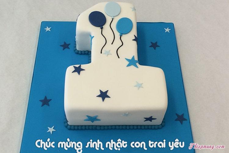 Bánh sinh nhật hình số 1 cho bé trai đẹp dễ thương