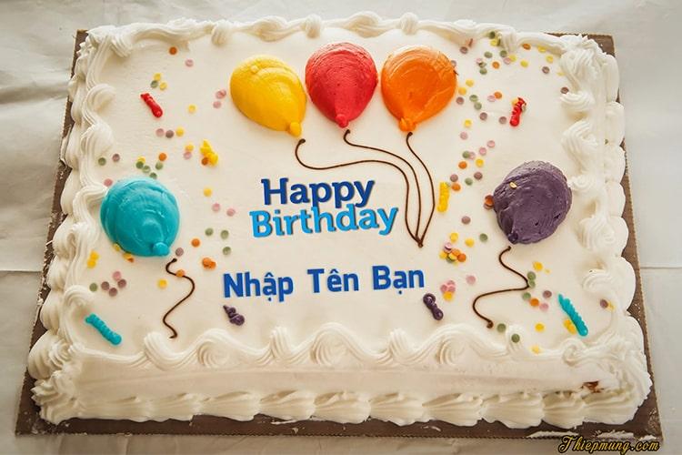 Viết tên lên bánh sinh nhật bóng bay nhiều màu sắc
