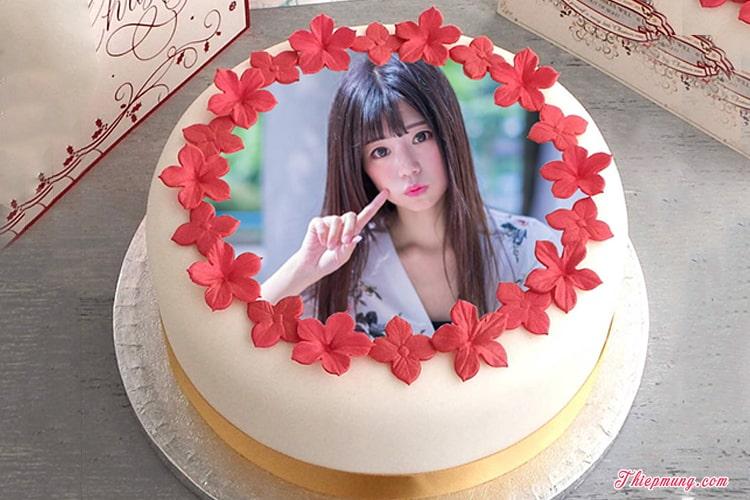 Bánh sinh nhật hoa in hình đẹp