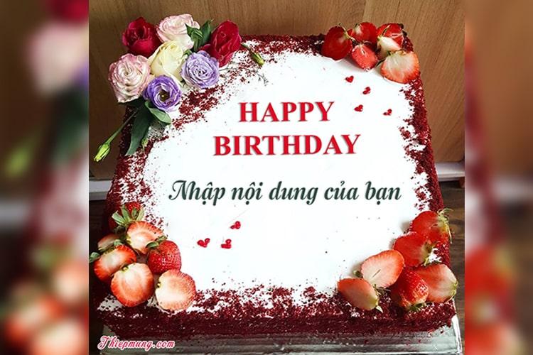 Bánh sinh nhật Red Velvet dâu tây lãng mạn