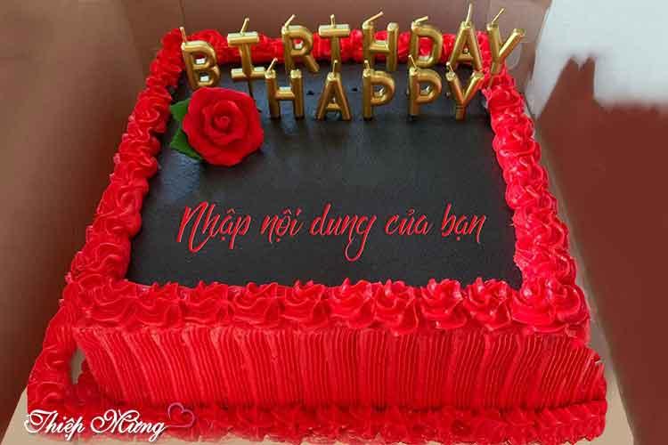 Viết tên hoặc lời chúc lên bánh sinh nhật hoa hồng