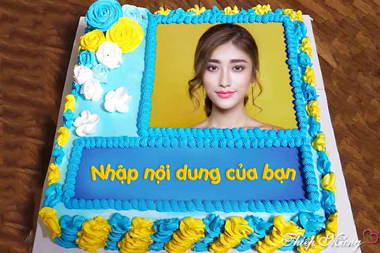 In ảnh lên bánh kem chúc mừng sinh nhật màu xanh