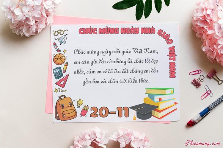 Tạo thiệp 20/11 - Nhà giáo Việt Nam đẹp ý nghĩa