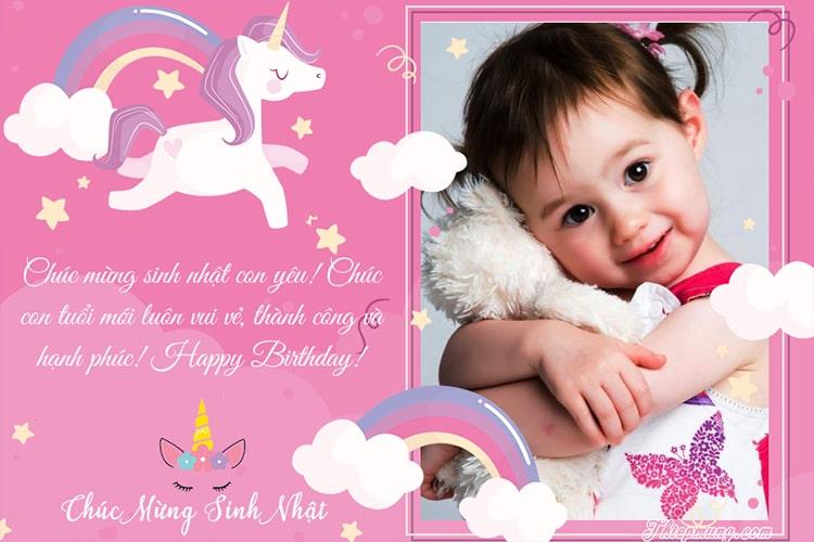Khung ảnh sinh nhật Unicorn dễ thương cho bé