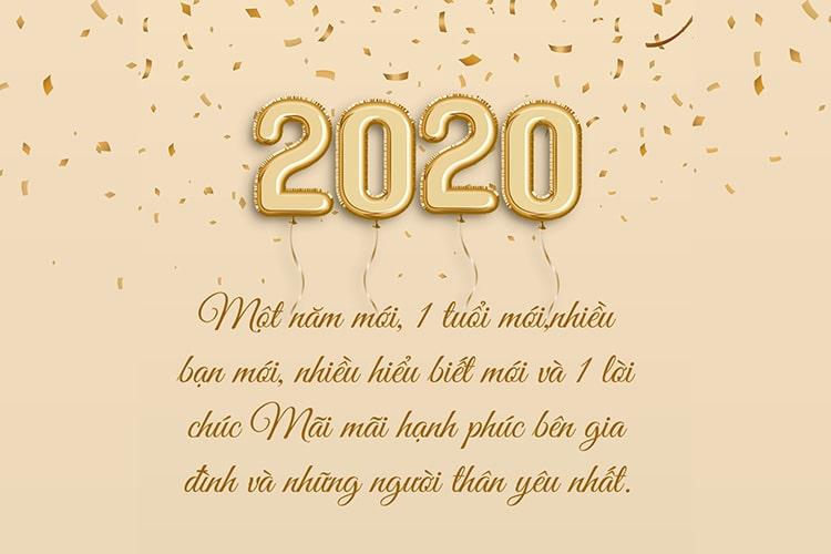 Thiệp chúc mừng năm mới 2020 bóng bay