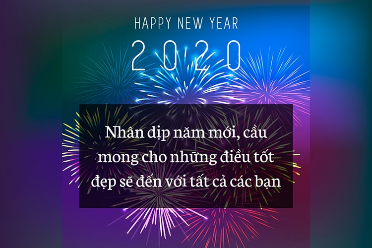 Thiệp pháo hoa chúc mừng năm mới 2020
