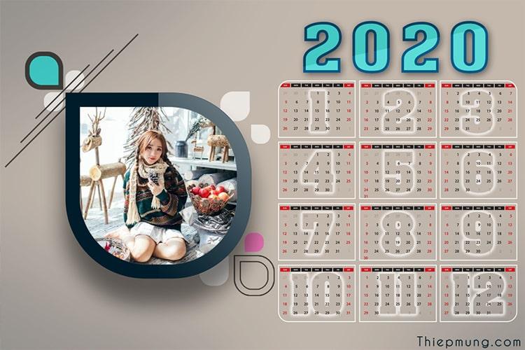 Tạo lịch năm mới 2020 trực tuyến