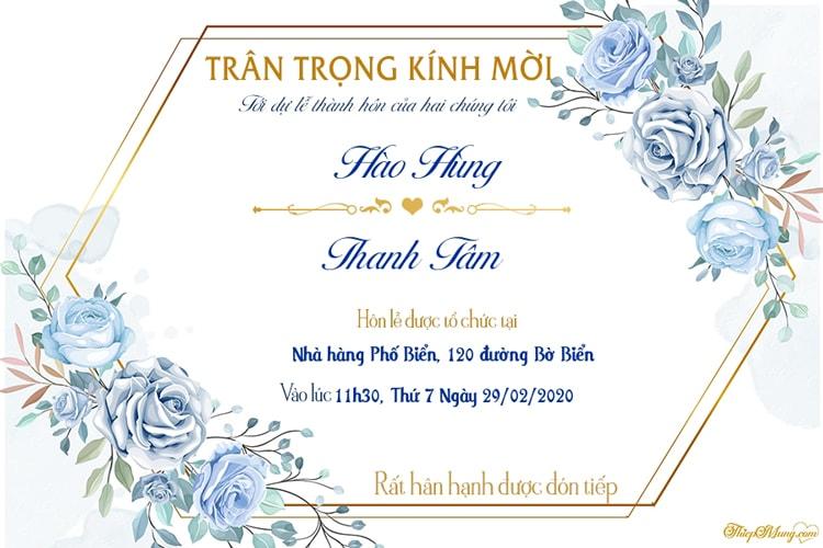 Tạo thiệp cưới online phong cách hoa sang trọng