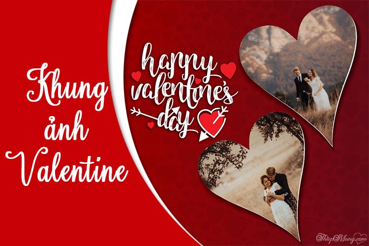 Tạo khung ảnh đôi Valentine tình yêu đẹp lãng mạn