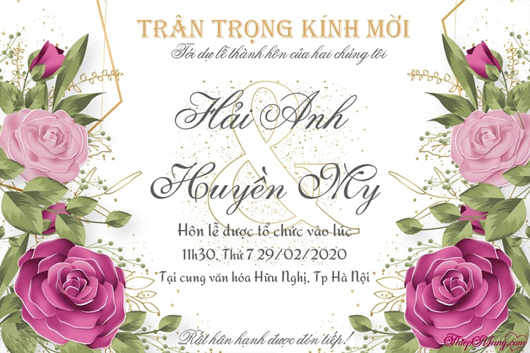 Tạo thiệp cưới hoa hồng hiện đại, sang trọng