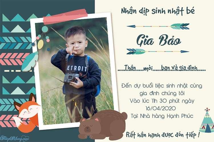 Tạo thiệp mời sinh nhật cho bé trai