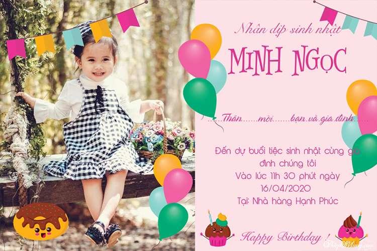 Thiệp mời sinh nhật màu hồng đáng yêu cho bé gái