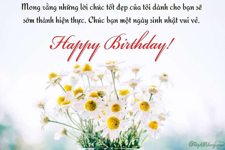 Tạ thiệp sinh nhật đẹp - Thiệp hoa Happy Birthday ý nghĩa