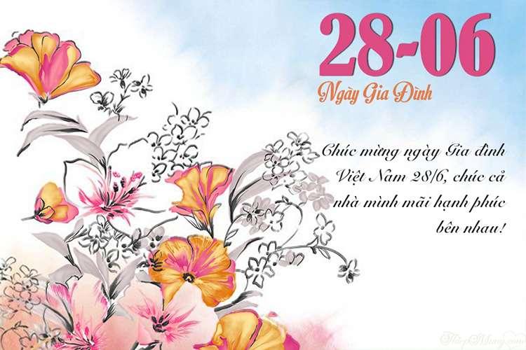 Thiệp hoa chúc mừng ngày Gia đình Việt Nam 28-06