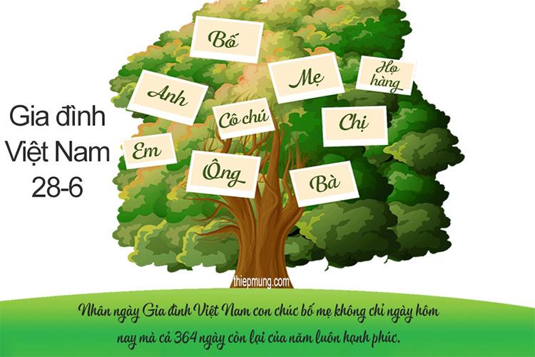 Thiệp cây gia đình cho ngày gia đình Việt Nam