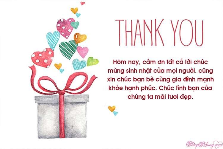 Thiệp cảm ơn về món quà sinh nhật ý nghĩa