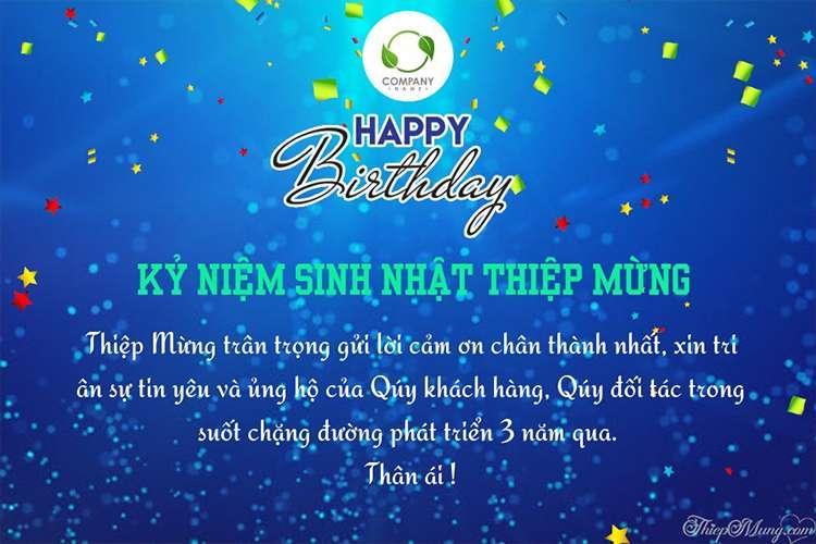 Thiệp chúc mừng sinh nhật công ty với CBNV, đối tác
