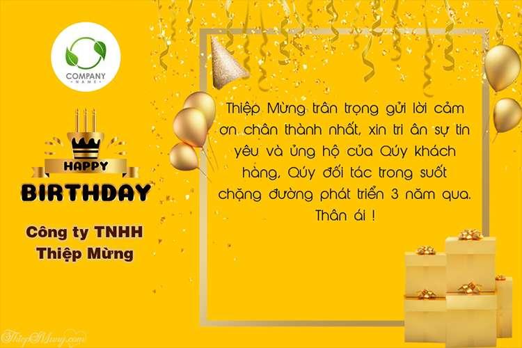 Làm thiệp kỷ niệm sinh nhật công ty màu vàng