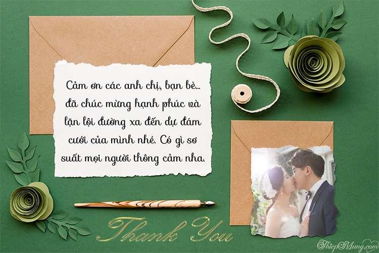 Viết lời cảm ơn sau đám cưới với ảnh