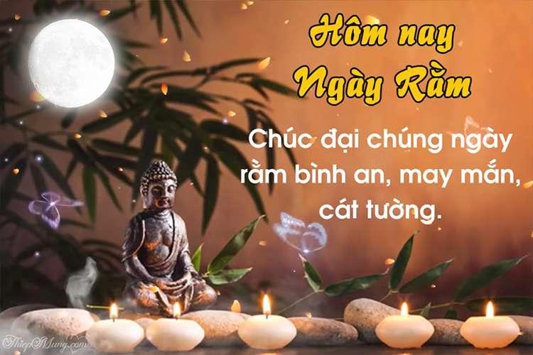 Viết và tạo thiệp ngày Rằm 15 âm lịch đầu tháng may mắn