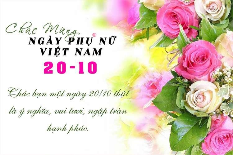 Thiệp chúc mừng 20/10- Ngày Phụ nữ Việt Nam đẹp với hoa hồng