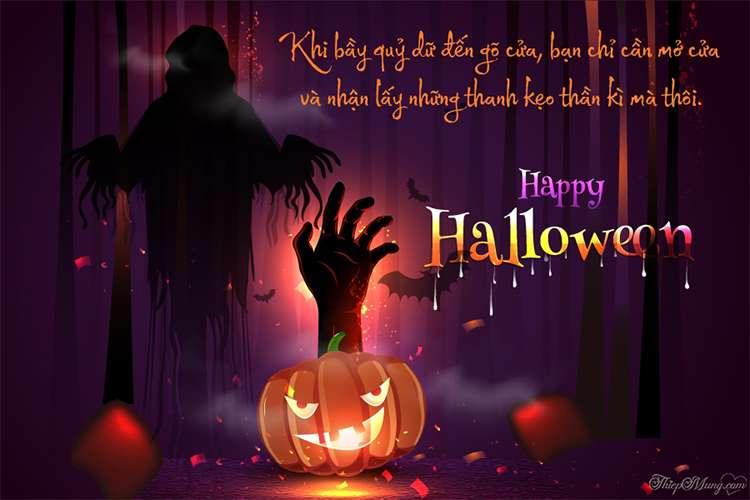 Hình ảnh thiệp Halloween kinh dị với lời chúc
