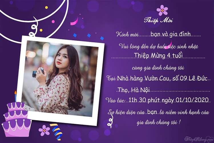 Thiệp mời sinh nhật màu tím đẹp lung linh nhất