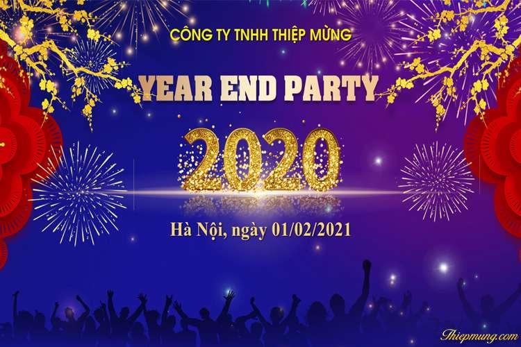 Mẫu Backdrop phông Year End Party 2020 đẹp cho công ty
